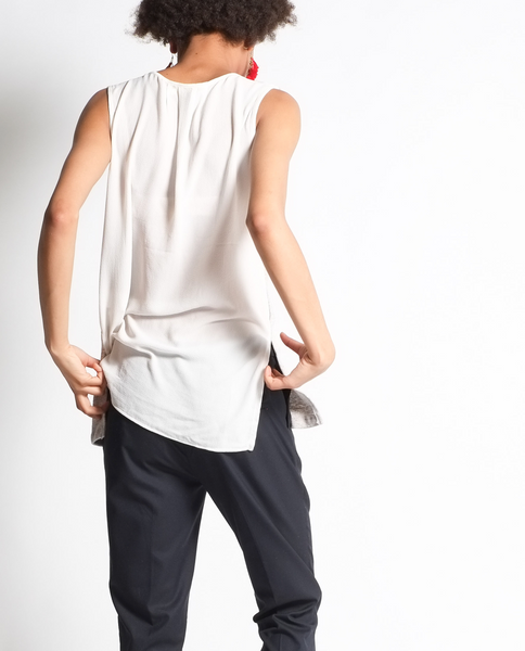 Charlotte Sleeveless Top in Eggshell