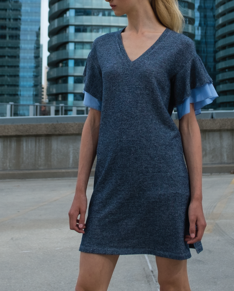 Charo Mini Dress in Navy