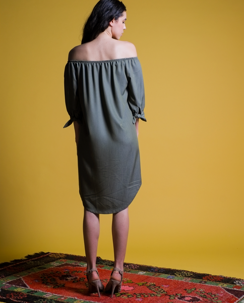 Elena Off Shoulder Dress in Olive