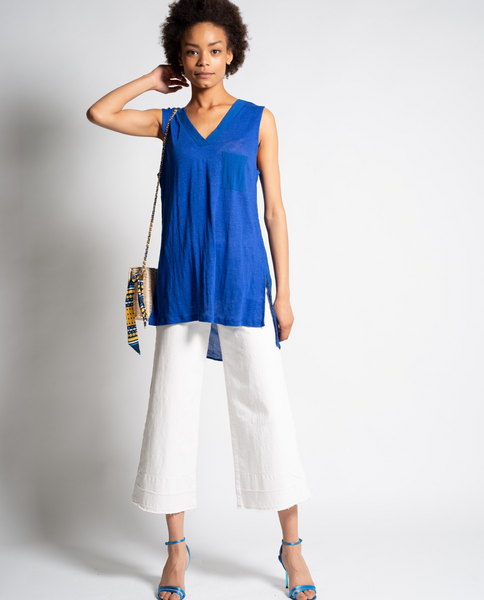 Harper Sleeveless Top in Blue