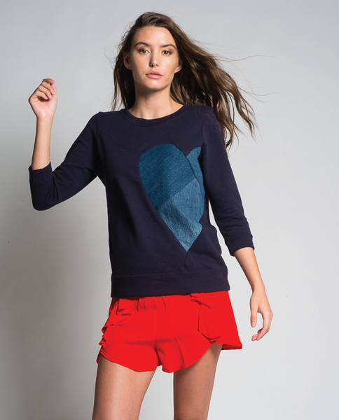 Queen of Heart Sweatshirt in Navy