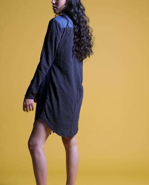 Tessa Shirt Dress in Navy