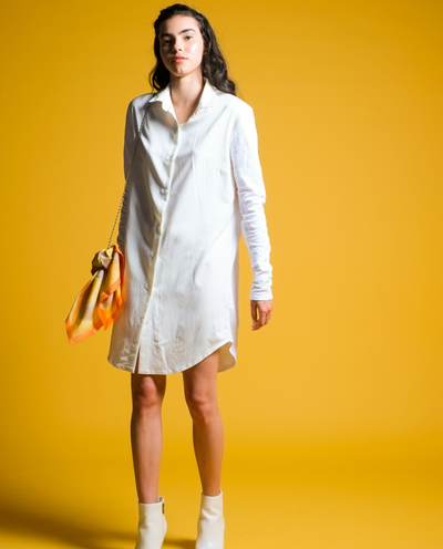 Tessa Shirt Dress in White