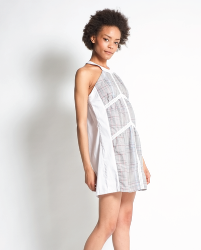 Ava Dress in White with Dress Shirt