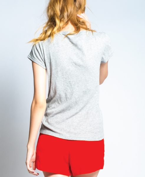 Kate Grey V-Neck Cotton Pocket T-Shirt