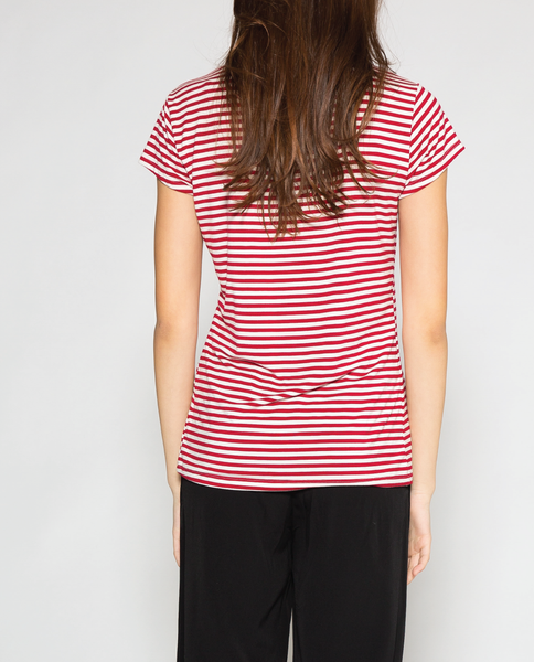 Kate Red Striped V-Neck Cotton Pocket T-Shirt