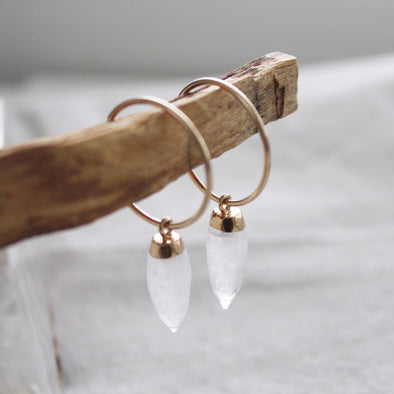 Clear Quartz Crystal Hoops