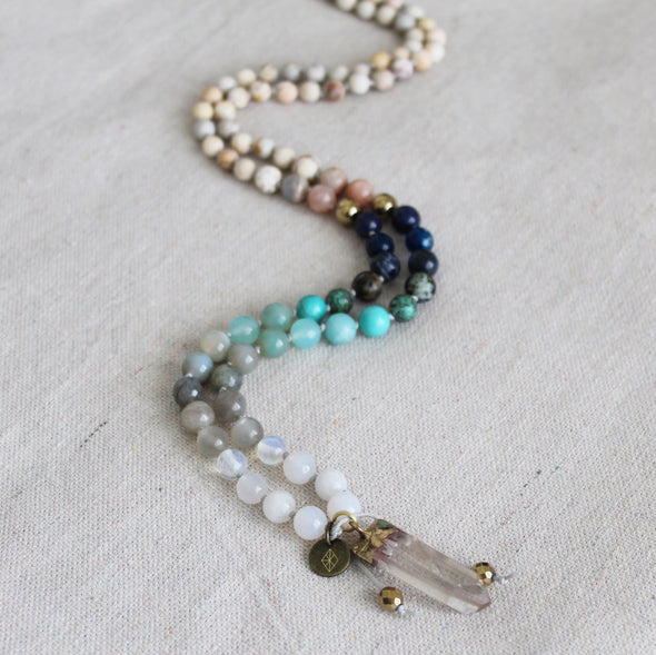 Summer Sky Knotted Mala
