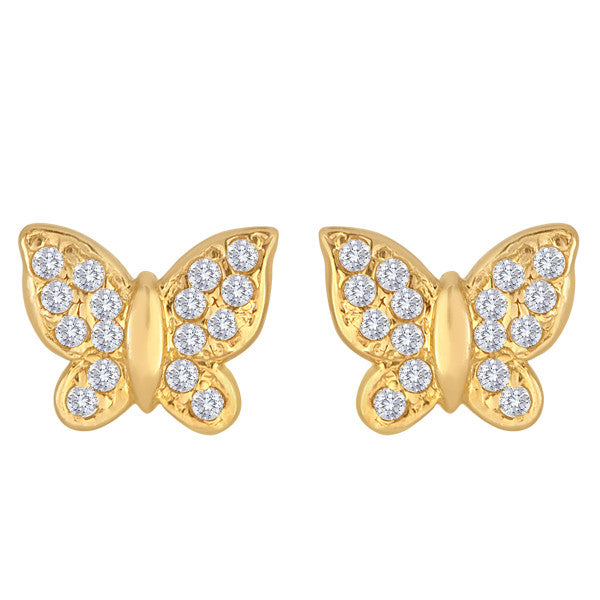 "14K Gold Butterfly Studs With ""Diamond"" Accents"