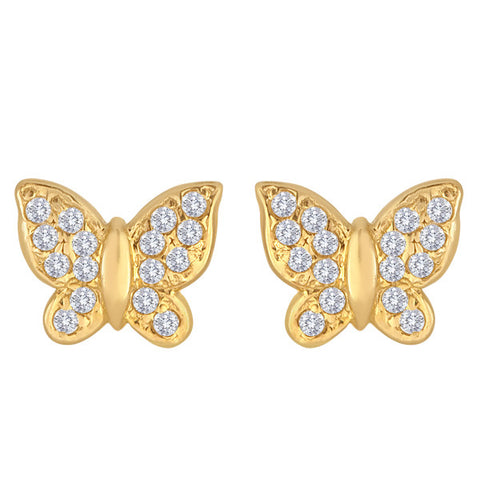 14K Gold Butterfly Studs With CZ Accents