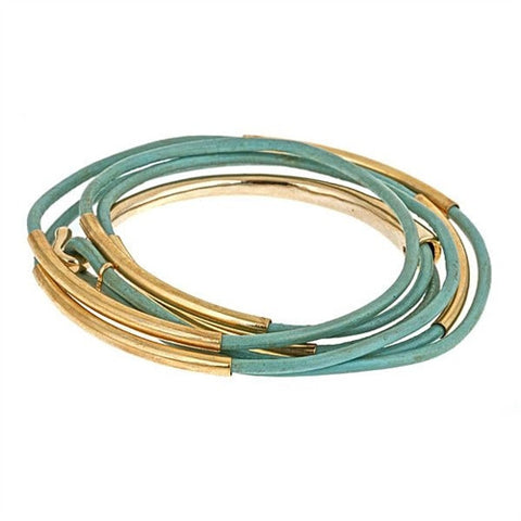 Fornash Leather and Gold Plated Wrap Bracelet
