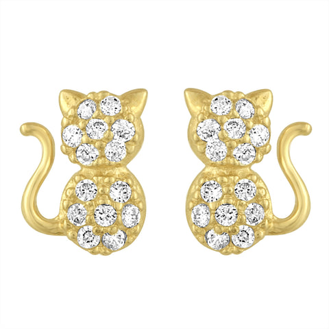 Cat Stud Earrings in Yellow Gold and CZ