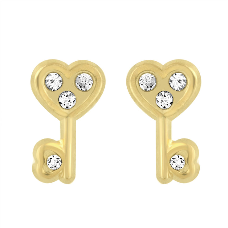 Key to your Heart Yellow Gold Studs
