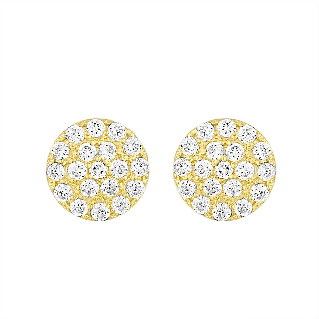 Yellow Gold Disc Earrings with Cz