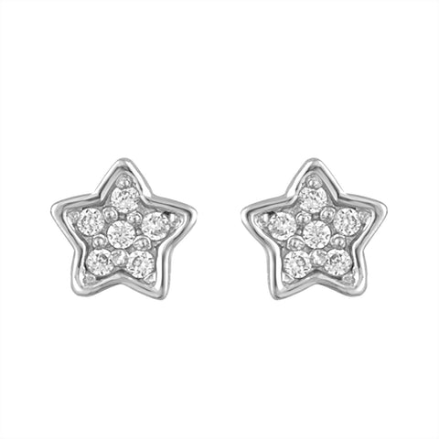 Star Studs in White Gold and CZ