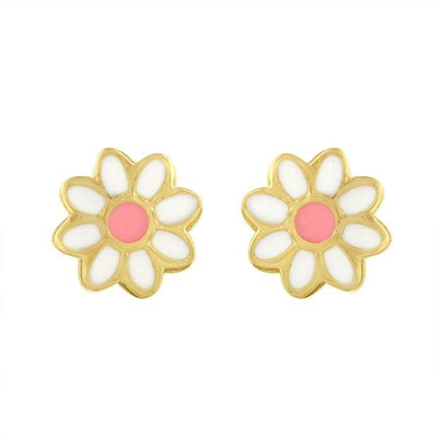 Daisy Stud Earring in Gold and Enamel
