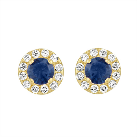 Yellow Gold Halo Studs with Created Blue Sapphire Center and CZ