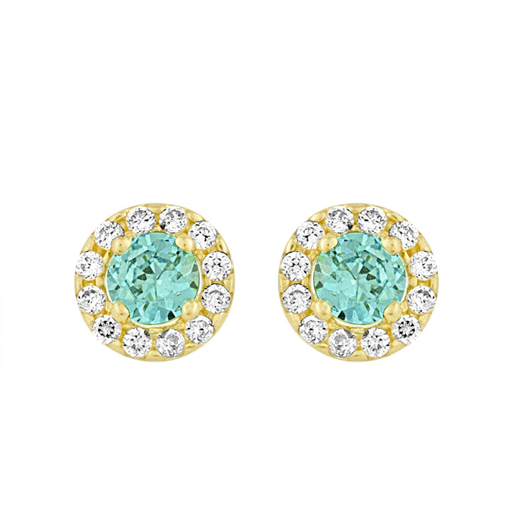 Yellow Gold Created Blue Topaz Studs in 14kt and CZ