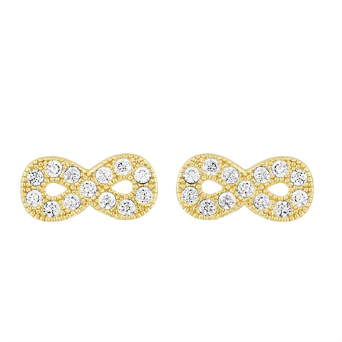 Infinity Yellow Gold Studs Earrings