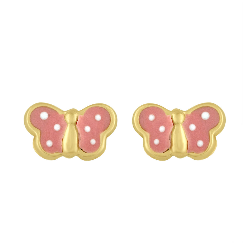 Butterfly Earrings in Pink Enamel