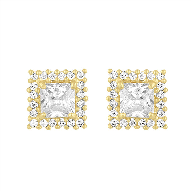 Princess Cut Cz 14kt Gold Studs