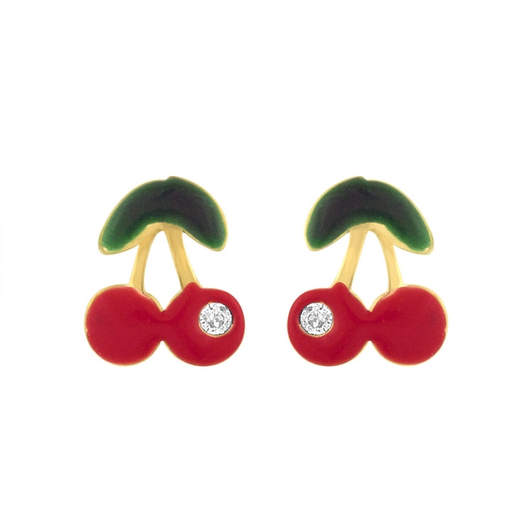 Cherry Studs in 14kt Yellow Gold