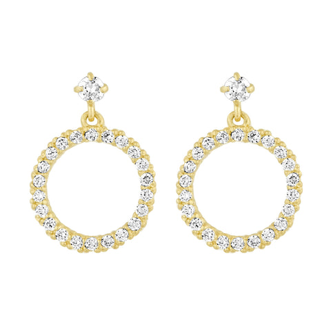 Circle Dangle Earrings in Cz