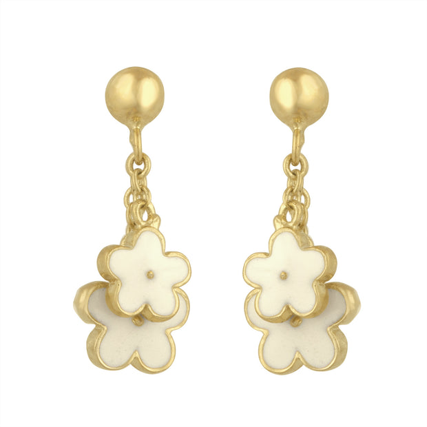 Dangle Flower Earrings in White for Little Girls