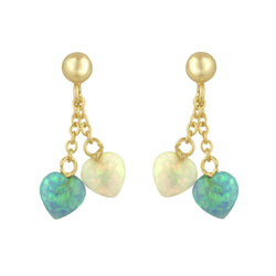 Opal Heart Dangle Earrings