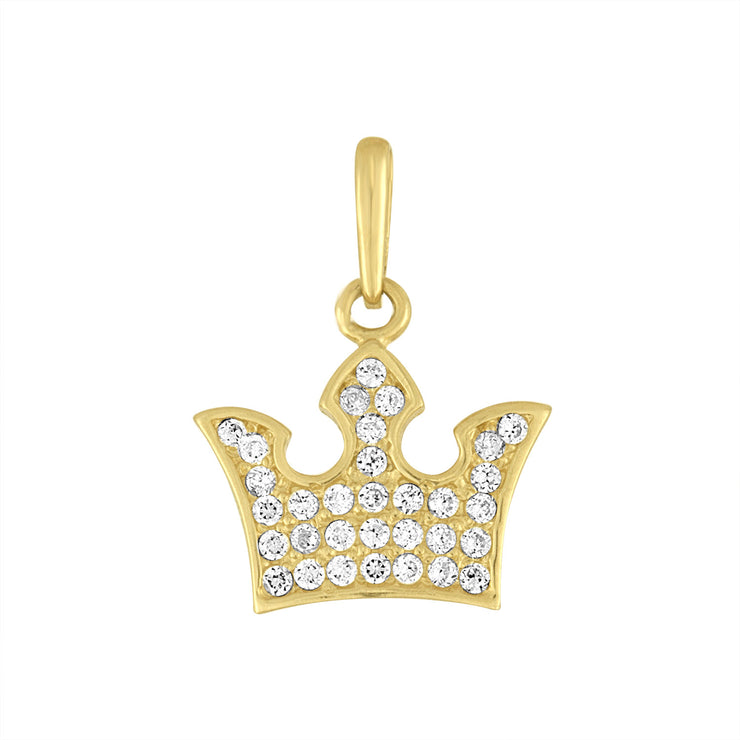 Crown Pendant Charm in 14kt Yellow Gold and Cz