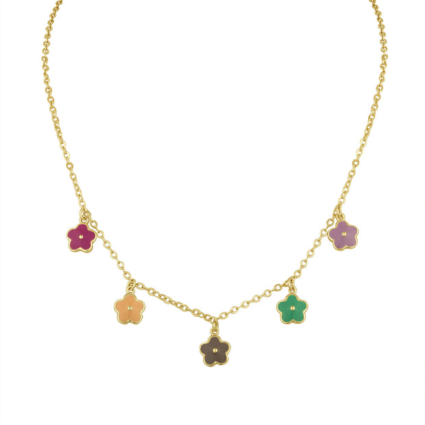 Flower Power Charm Necklace with Multi Color Enamel flowers
