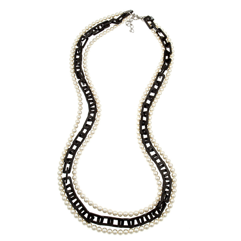 Black Resin and Pearl Three Strand Necklace by Fornash