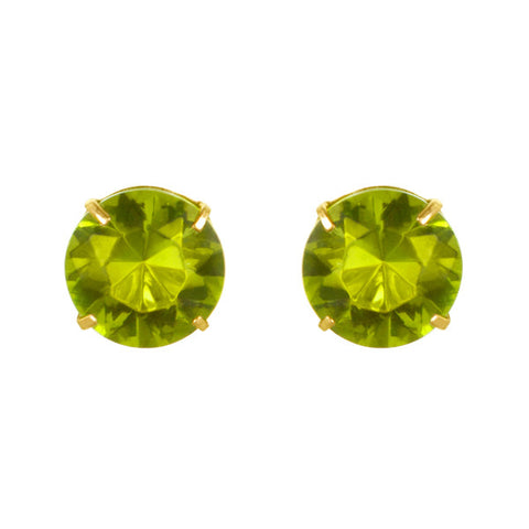 August Birthstone Studs for Little Girls Peridot Screw Back