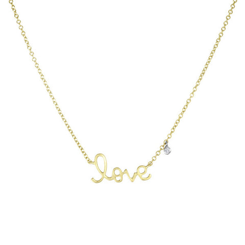 "Cursive ""LOVE"" Necklace With Diamond Charm"