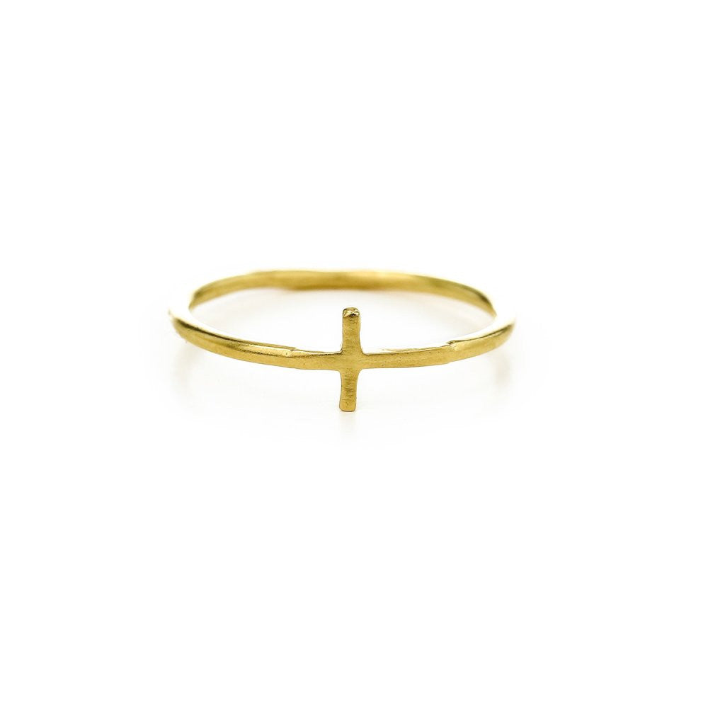 Dogeared Gold Dipped Cross Ring