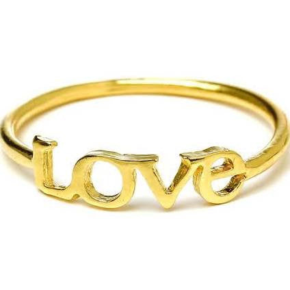 Dogeared LOVE Ring, Gold Dipped
