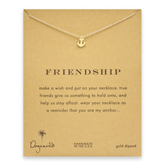 Dogeared Smooth Anchor Friendship Necklace, Gold Dipped