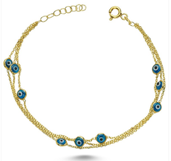 Light Blue Evil Eye Bracelet in Gold