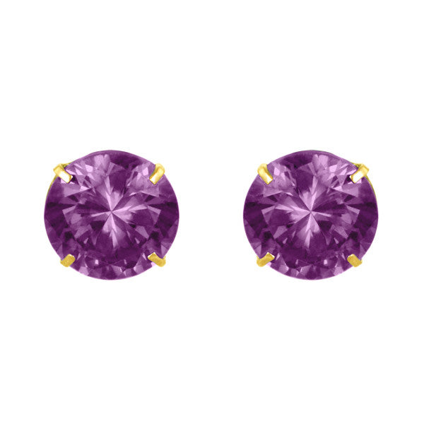 February Birthstone Studs for Little Girls 14kt Amethyst Screw Back