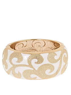 Athena White and Gold Enamel Cuff by Fornash