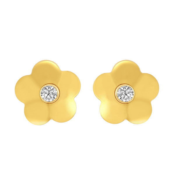 "Gold Daisy Earrings With ""Diamond"" Center"