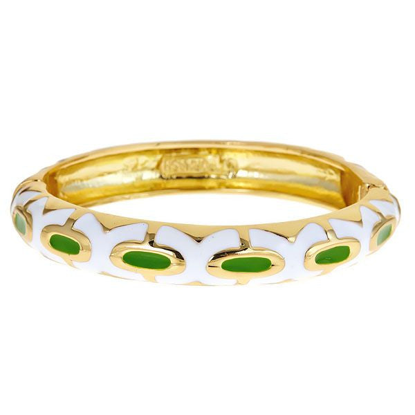 Green and White Fornash Queen Enamel Bracelet
