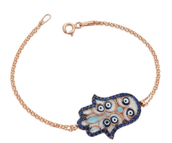 Hamsa Bracelet in Rose with Evil Eye Embellishments
