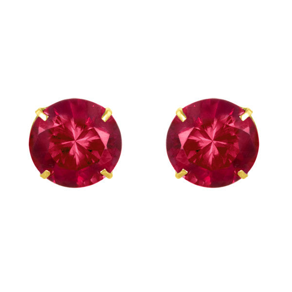 January Birthstone Studs for Little Girls Garnet Scew Back