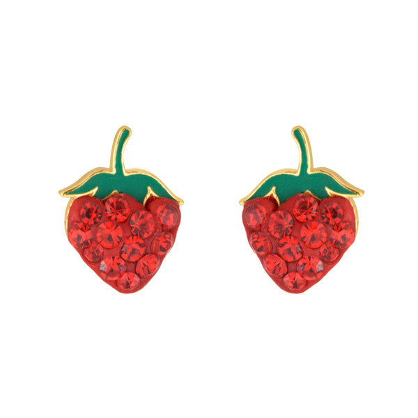 Juicy Strawberry Studs 14kt Gold