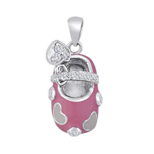 Kickin' It Necklace Charm: Pink Shoe With Heart Mini-Charm