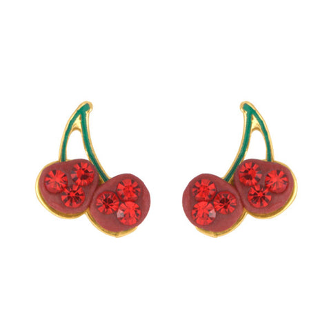 Pair of Cherry Studs 14kt Gold