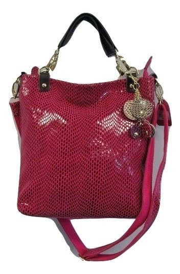 Pink Snake Skin Embossed Leather Handbag