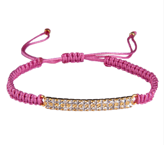 Purple Thread Bracelet with Swarovski Crystals