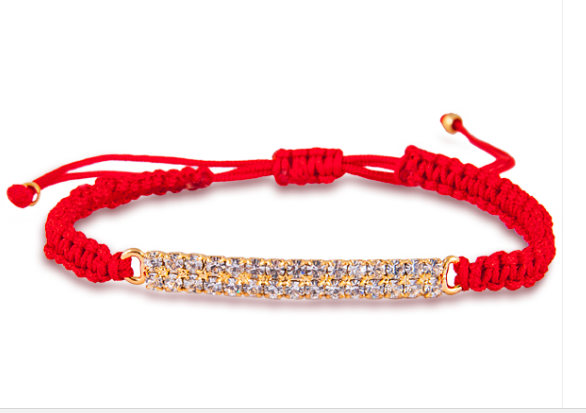 Red Thread Bracelet with Swarovski Crystals